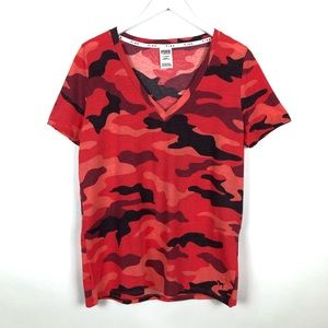 NEW VS PINK PERFECT V-NECK TEE RED CAMO LARGE NWT